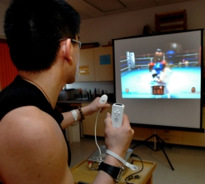 Nintendo Wii game console being used for patient rehabilitation in Edmunton hospital