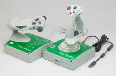 Ace-Edge Flightstick game controller for the Xbox 360 branded for the Ace Combat 6 game