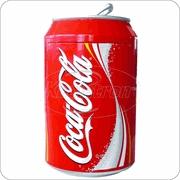 small refrigerator shaped like a Coke can