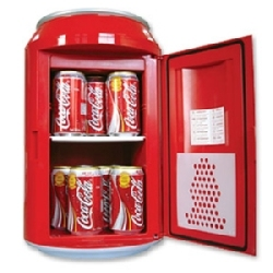 Koolatron Coca-Cola Fridge is a small refrigerator shaped like a big can of Coke