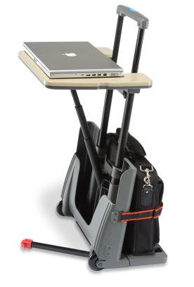 Rolling luggage card and notebook desk