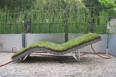 Lawn Chair covered with sod grass which makes it a literal lawn chair
