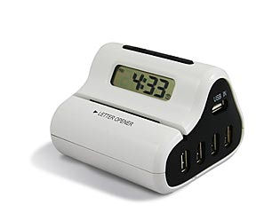 USB hub alarm clock letter opener all combined in one device