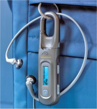 Carabiner MP3 player and radio