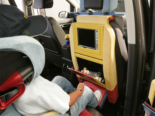GPS for kids in the backseat let them play games and see how long until they reach the destination.