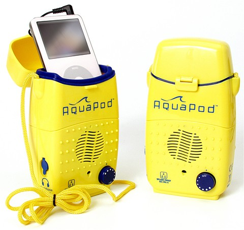 Aquapod splash proof ipod or other MP3 player speaker and case
