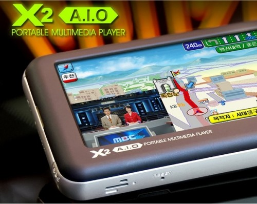 Viliv X2 A.I.O. multimedia player showing picture in picture, tv tuner, dictionary and more