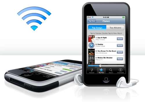 Apple launches the iTunes Wi-Fi Music Store to access millions of songs wireless through the iPhone or iPod touch