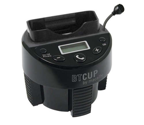 BTCUP iPod dock, Bluetooth hands free system and FM transmitter designed to fit in a cup holder