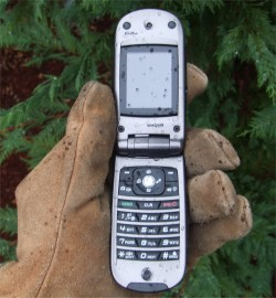 Casio G'zOne Type-S mobile phone working outdoors in rain