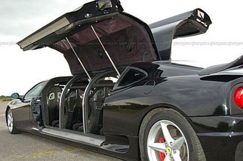black Ferrari 360 Modena carbon fibre stretch limousine launched as the fastest limo in the world