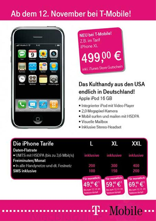 An ad from T-Mobile Germany leaks information about a Europe launch of the Apple iPhone