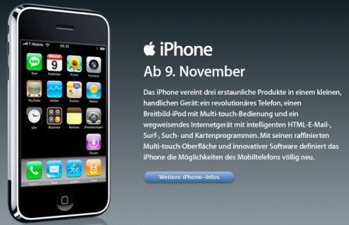 Apple announced the launch of the iPhone in Germany with T-Mobile for November 9