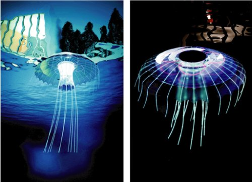 Medusa pool light is a solar lamp that floats in swimming pools