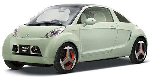 The Mitsubishi i MIEV Sport electric car has a solar roof and wind turbines in the grill