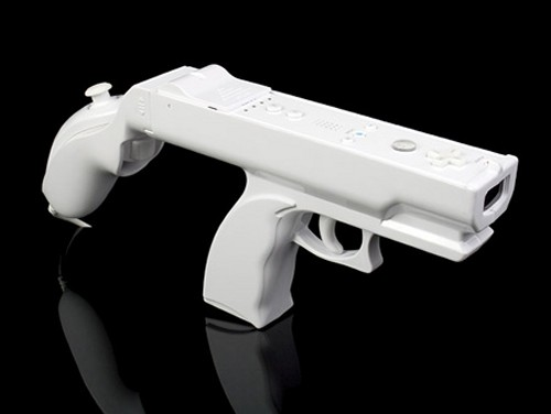 Wii 2 in 1 Light Gun from Brando uses both controllers in a tommy gun configuration