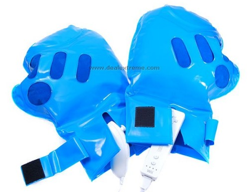 Inflatable boxing gloves for use with the Nintendo Wii