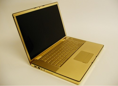 24 carot gold MacBook Pro with diamond Apple logo on the cover
