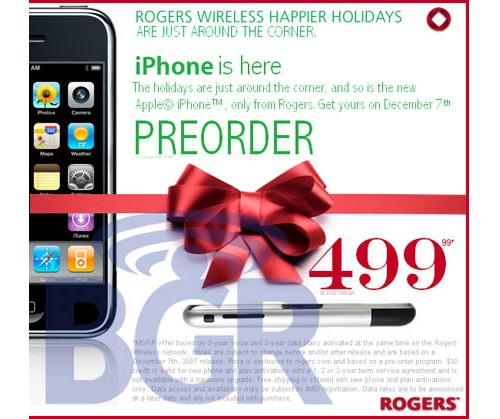 Rumors of the Apple iPhone coming to Canada through Rogers on December 7th