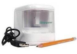 iSharpener USB pencil sharpener sharpens your pencil and displays flashy LED lights