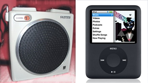 Lloyd's V128 8 track player compared to Apple's iPod