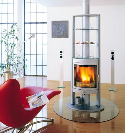 Max Blank wood burning fireplace swivels