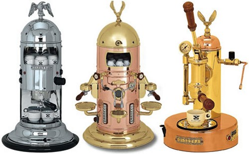These Mini Verticale Elektra espresso makers are pure eye candy, and sport a beautiful steampunk design.