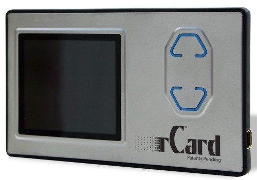 rCard from CEO IQ hold digital information including text, images and video and is the size of a business card