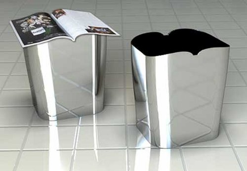 Snowtone wastebasket concept has a top shaped to hold a magazine