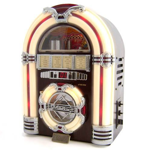 USB CD Rock Mini Jukebox is a jukebox reproduction that plays CDs, radio and MP3 files
