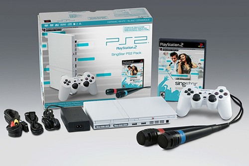 Limited Edition white PS2 bundled with Singstar
