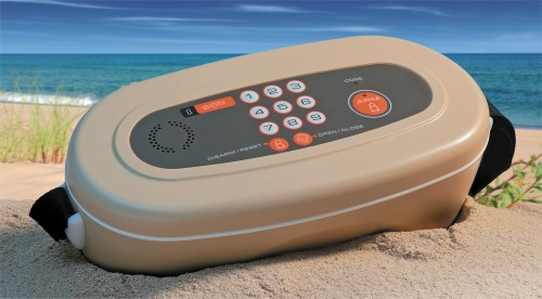 Yelpie portable safe has motion alarm and can go with you to the beach