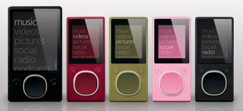 Images of the second generation Zune 2 and Flash-based Zune players from Microsoft