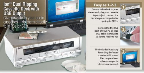 ion dual ripping cassette deck usb output