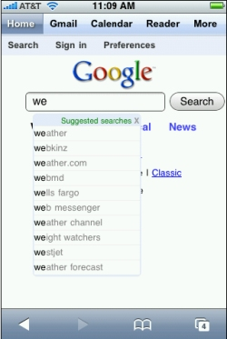 Google builds application interface for iPhone users through the web browser