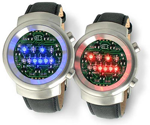 LED Binary circuit board watch is geek chic