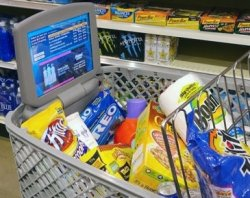 Microsoft's high-tech grocery cart with video ads