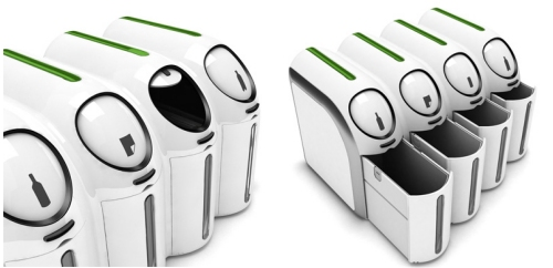 Barcode trashcan concept identifies the correct bin to recycle materials