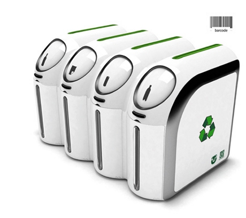 Barcode trashcan identifies recyclables by barcode