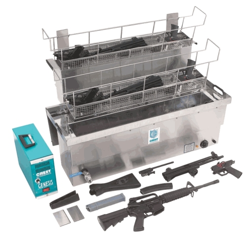 Dishwasher system for cleaning guns