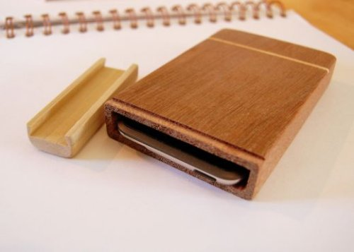 Hand-carved wooden iPod cases