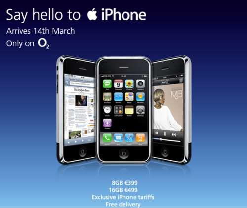 The Apple iPhone will be launched in Ireland March 14 with O2.