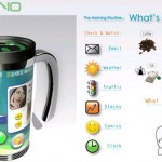 Coffee mug displays your feeds, plays clips