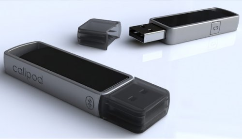 Callpod Drone Bluetooth adapter automatically connects and streams VoIP and music to Bluetooth headset