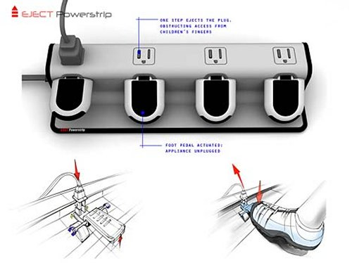 Eject Powerstrip concept uses pedals to eject the plugs and cut off power to save electricity