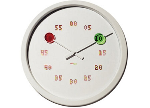 Seeing Double Clock has hours and minutes in the same place, identified by colors