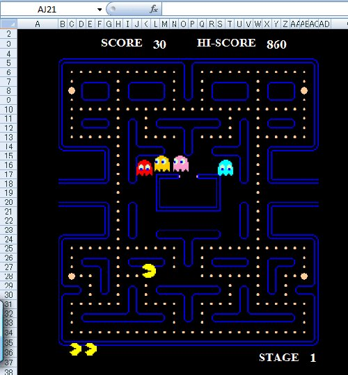 Play classic arcade games in spreadsheets