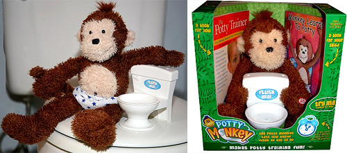 Potty Monkey teaches you how to use the toilet
