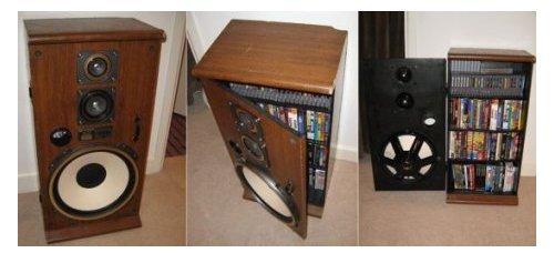 Speaker media cabinet hides your stuff