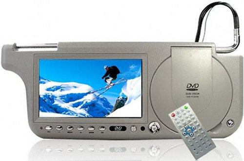 Touchscreen sun visor with DVD, TV and radio